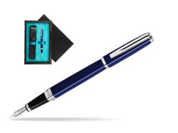Waterman Exception Slim Blue CT Fountain pen  single wooden box  Black Single Turquoise