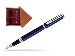 Waterman Exception Slim Blue CT Fountain pen in single wooden box Mahogany Single Maroon