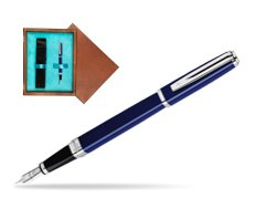 Waterman Exception Slim Blue CT Fountain pen in single wooden box  Mahogany Single Turquoise