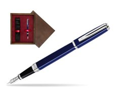 Waterman Exception Slim Blue CT Fountain pen in single wooden box  Wenge Single Maroon