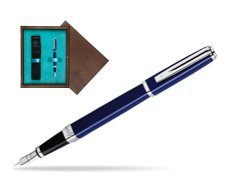 Waterman Exception Slim Blue CT Fountain pen in single wooden box  Wenge Single Turquoise