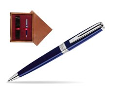 Waterman  Exception Slim Blue CT Ballpoint pen  in single wooden box Mahogany Single Maroon