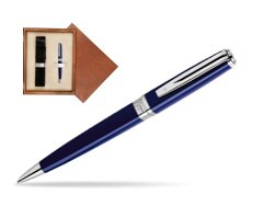 Waterman  Exception Slim Blue CT Ballpoint pen  in single wooden box  Mahogany Single Ecru