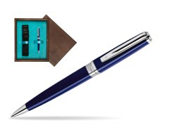Waterman  Exception Slim Blue CT Ballpoint pen  in single wooden box  Wenge Single Turquoise