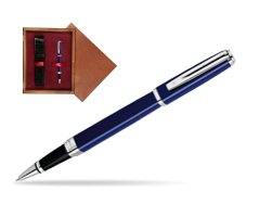 Waterman Exception Slim Blue CT Rollerball pen in single wooden box Mahogany Single Maroon