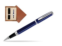 Waterman Exception Slim Blue CT Rollerball pen in single wooden box  Mahogany Single Ecru