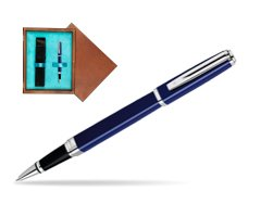 Waterman Exception Slim Blue CT Rollerball pen in single wooden box  Mahogany Single Turquoise
