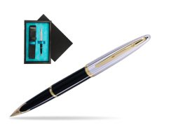 Waterman Carène Deluxe Black GT Fountain pen  single wooden box  Black Single Turquoise