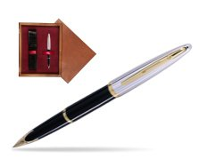 Waterman Carène Deluxe Black GT Fountain pen in single wooden box Mahogany Single Maroon