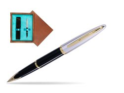 Waterman Carène Deluxe Black GT Fountain pen in single wooden box  Mahogany Single Turquoise