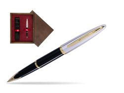 Waterman Carène Deluxe Black GT Fountain pen in single wooden box  Wenge Single Maroon