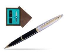 Waterman Carène Deluxe Black GT Fountain pen in single wooden box  Wenge Single Turquoise
