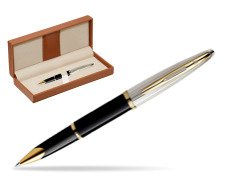 Waterman Carène Deluxe Black GT Rollerball pen  in classic box brown