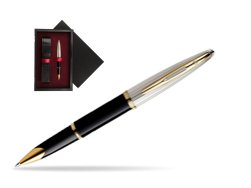 Waterman Carène Deluxe Black GT Rollerball pen  single wooden box  Black Single Maroon