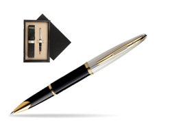 Waterman Carène Deluxe Black GT Rollerball pen  single wooden box  Wenge Single Ecru