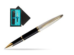 Waterman Carène Deluxe Black GT Rollerball pen  single wooden box  Black Single Turquoise