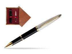 Waterman Carène Deluxe Black GT Rollerball pen in single wooden box Mahogany Single Maroon