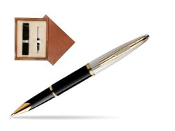 Waterman Carène Deluxe Black GT Rollerball pen in single wooden box  Mahogany Single Ecru