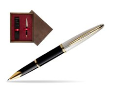Waterman Carène Deluxe Black GT Rollerball pen in single wooden box  Wenge Single Maroon