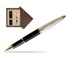 Waterman Carène Deluxe Black GT Rollerball pen in single wooden box  Wenge Single Ecru