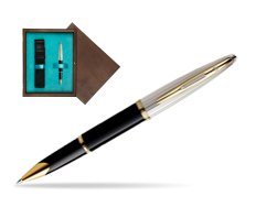 Waterman Carène Deluxe Black GT Rollerball pen in single wooden box  Wenge Single Turquoise
