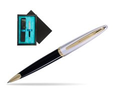 Waterman Carène Deluxe Black GT Ballpoint pen  single wooden box  Black Single Turquoise