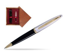 Waterman Carène Deluxe Black GT Ballpoint pen in single wooden box Mahogany Single Maroon
