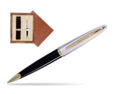 Waterman Carène Deluxe Black GT Ballpoint pen in single wooden box  Mahogany Single Ecru