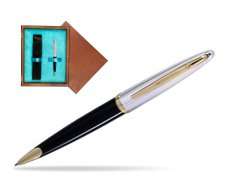 Waterman Carène Deluxe Black GT Ballpoint pen in single wooden box  Mahogany Single Turquoise