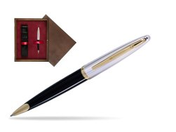 Waterman Carène Deluxe Black GT Ballpoint pen in single wooden box  Wenge Single Maroon