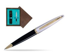 Waterman Carène Deluxe Black GT Ballpoint pen in single wooden box  Wenge Single Turquoise