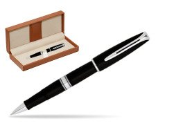 Waterman Charleston Black CT RollerBall Pen  in classic box brown