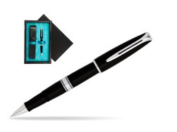 Waterman Charleston Black CT RollerBall Pen  single wooden box  Black Single Turquoise