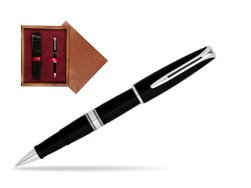 Waterman Charleston Black CT RollerBall Pen in single wooden box Mahogany Single Maroon