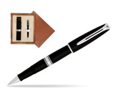Waterman Charleston Black CT RollerBall Pen in single wooden box  Mahogany Single Ecru