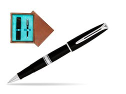 Waterman Charleston Black CT RollerBall Pen in single wooden box  Mahogany Single Turquoise