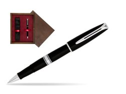 Waterman Charleston Black CT RollerBall Pen in single wooden box  Wenge Single Maroon