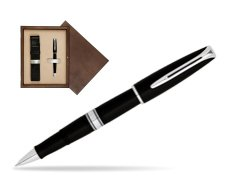 Waterman Charleston Black CT RollerBall Pen in single wooden box  Wenge Single Ecru