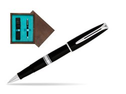 Waterman Charleston Black CT RollerBall Pen in single wooden box  Wenge Single Turquoise