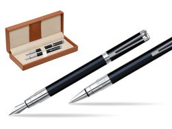 Waterman Perspective Black CT Fountain pen + Waterman Perspective Black CT Ballpoint Pen  in classic box brown