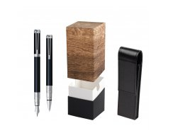 Waterman Perspective Black CT Fountain pen + Waterman Perspective Black CT Ballpoint Pen in gift box  StandUP Wood
