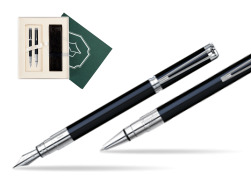 "Waterman Perspective Black CT Fountain pen + Waterman Perspective Black CT Ballpoint Pen in Gift Box ""Science"""