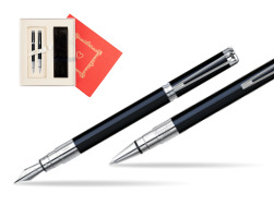 "Waterman Perspective Black CT Fountain pen + Waterman Perspective Black CT Ballpoint Pen in Gift Box ""Red Love"""
