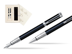 Waterman Perspective Black CT Fountain pen + Waterman Perspective Black CT Ballpoint Pen in Wedding Gift Box