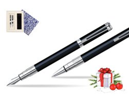 Waterman Perspective Black CT Fountain pen + Waterman Perspective Black CT Ballpoint Pen in Universal Gift Box Crystal Blue