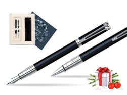 Waterman Perspective Black CT Fountain pen + Waterman Perspective Black CT Ballpoint Pen in Christmas Gift Box navy blue