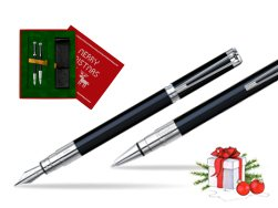 Waterman Perspective Black CT Fountain pen + Waterman Perspective Black CT Ballpoint Pen in Christmas Gift Box red