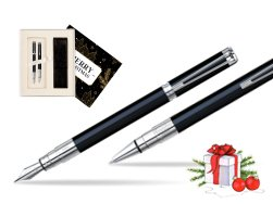 Waterman Perspective Black CT Fountain pen + Waterman Perspective Black CT Ballpoint Pen w Christmas Gift Box Magic of Christmas