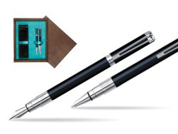 Waterman Perspective Black CT Fountain pen + Waterman Perspective Black CT Ballpoint Pen in double wooden box Wenge Double Turquoise