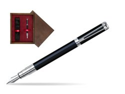 Waterman Perspective Black CT Fountain pen in single wooden box  Wenge Single Maroon